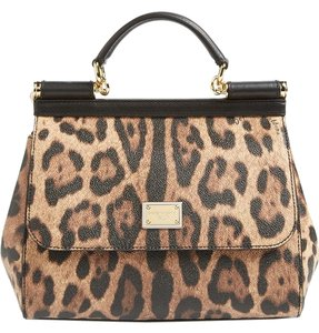 Dolce&Gabbana Dolce And Gabbana Leopard Satchel Tote in Black