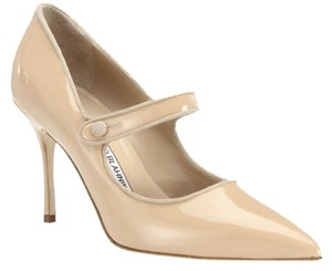 Manolo Blahnik Mary Jane Nude Pumps