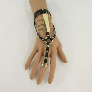 Other Women Fashion Bracelet Black Faux Leather Metal Plate Hand Chain Slave Cuff Ring