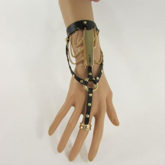 Other Women Fashion Bracelet Black Faux Leather Metal Plate Hand Chain