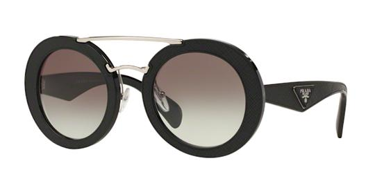 6434f4bbf7da Prada PRADA Round Ornate Black Saffiano Leather Sunglasses PR 15SS FREE 2  DAY SHIPPING Image 10