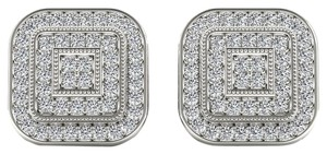 Elizabeth Jewelry 10Kt White Gold 0.22 Ct Diamond Halo Stud Earrings