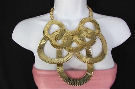 Other Women Gold Metal Multi Circles Strands Links Chains Fashion Necklace Earring