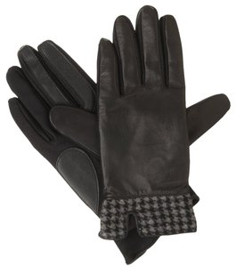 Isotoner Black Stretch Leather Houndstooth smarTouch Lined Gloves S XS