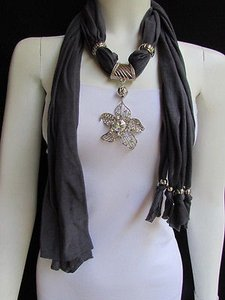 Women D. Gray Fashion Fabric Scarf Long Necklace Big Beads Metal Flower Pendant