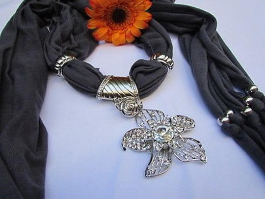 Other Women D. Gray Fashion Fabric Scarf Long Necklace Big Beads Metal Flower Pendant