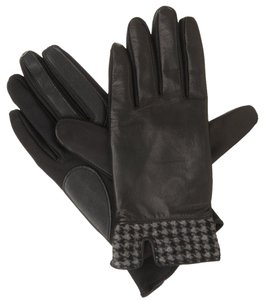Isotoner Black Stretch Leather Houndstooth smarTouch Lined Gloves M L