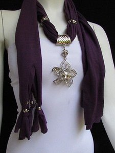Women Purple Fashion Fabric Scarf Long Necklace Big Beads Metal Flower Pendant