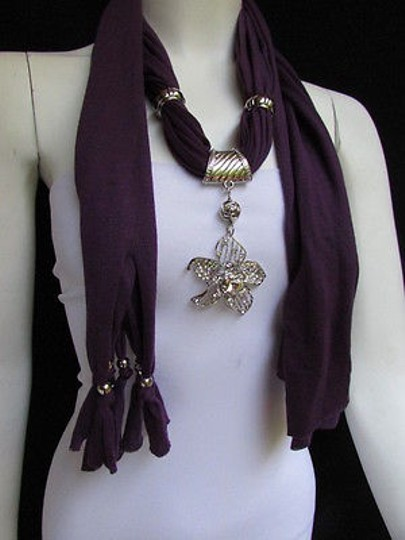 Other Women Purple Fashion Fabric Scarf Long Necklace Big Beads Metal Flower Pendant