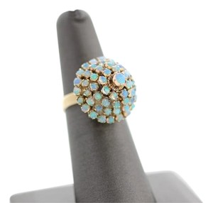 Other Antique 18k Yellow Gold Australian Opal Cluster Dome ring