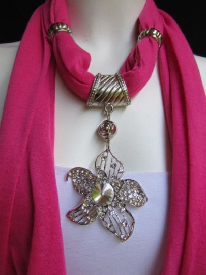 Preload https://item3.tradesy.com/images/women-pink-fashion-fabric-scarf-long-necklace-big-beads-metal-flower-pendant-1932432-0-0.jpg?width=440&height=440
