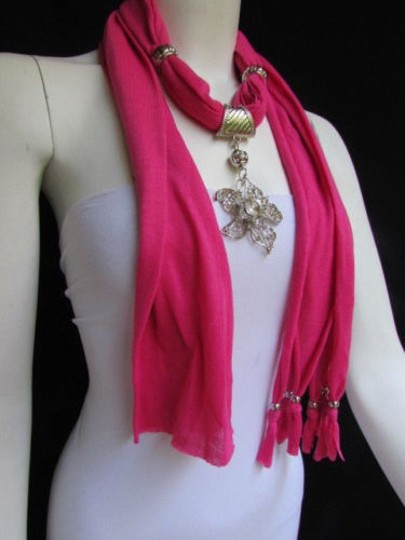 Other Women Pink Fashion Fabric Scarf Long Necklace Big Beads Metal Flower Pendant