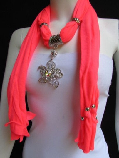 Other Women B. Coral Fashion Fabric Scarf Long Necklace Big Beads Metal Flower Pendant