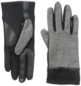 Isotoner Black Stretch Tweed Bow smarTouch Fleece Lined Gloves XL