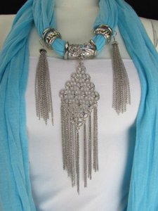 L. Blue Women Fashion Fabric Scarf Necklace Metal Chains Moroccan Pendant
