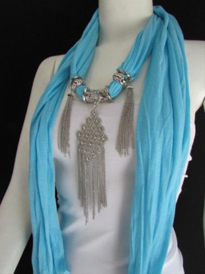 Other L. Blue Women Fashion Fabric Scarf Necklace Metal Chains Moroccan Pendant