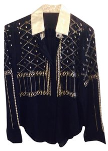 Other Chiffon Party Studs Metallic Gold Button Down Shirt Black