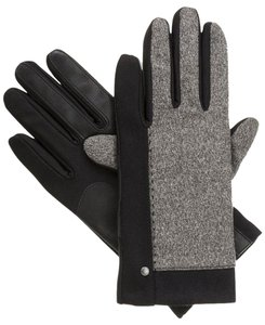 Isotoner Black Stretch Melange Tweed smarTouch Fleece Lined Gloves XL