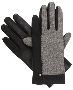 Isotoner Black Stretch Melange Tweed smarTouch Fleece Lined Gloves M L