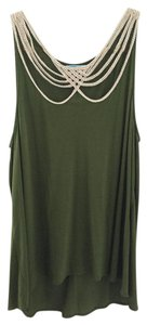 Anthropologie Military Rope Beige Sleeveless Delicate Top Green