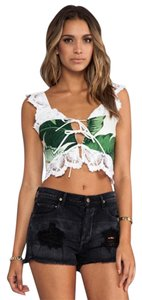 Stone Cold Fox Crop Palm Lace Tie Top White & Green