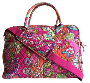 Vera Bradley Carryon Weekender Overnight Floral Pink Pink Swirls Travel Bag