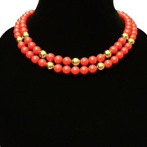 Napier Napier Red Heavy Double Strand Bead Necklace