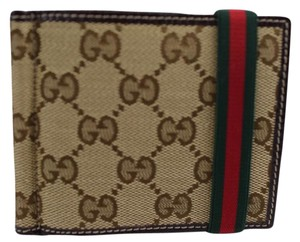 Gucci Gucci Men's 224187 Beige Canvas GG Red Green Band Money Clip Wallet