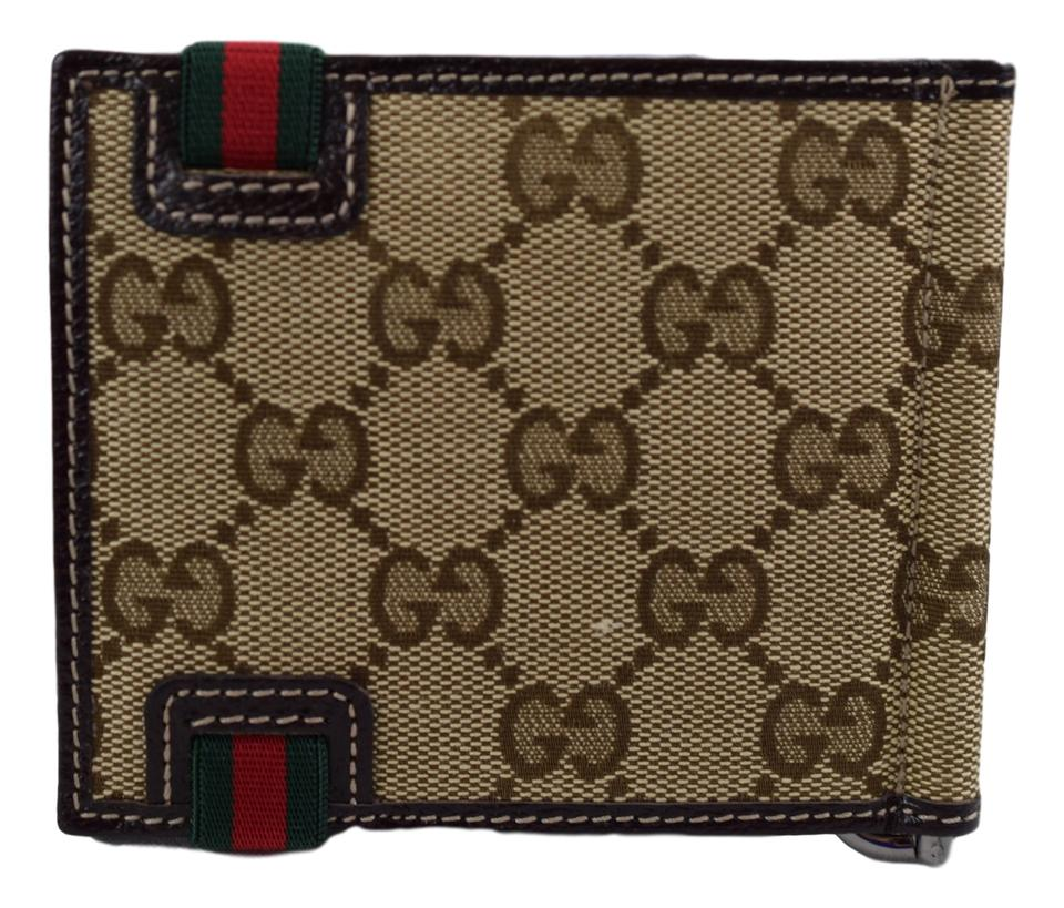 bff98aa5 Gucci Brown Men's 224187 Beige Canvas Gg Red Green Band Money Clip Wallet