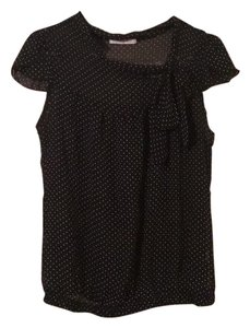 Charlotte Russe Sheer Polka Dot Tie Drop Waist Top Black