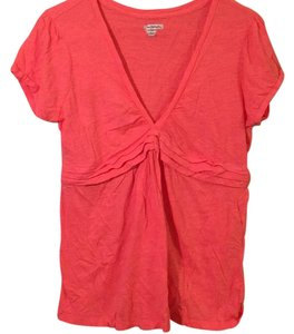 American Eagle Outfitters Empire Waist V-neck Cotton Structured T Shirt Salmon