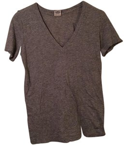 PINK Cotton V-neck Casual T Shirt Gray