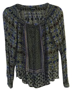 Lucky Brand Pattern Style Goingout Design Top blue white and violet