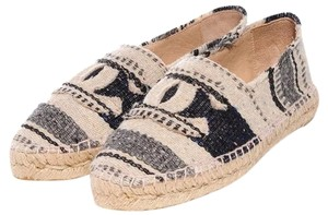 Chanel Striped Canvas Espadrilles Gray blue royal blue indigos white ivory beige Flats