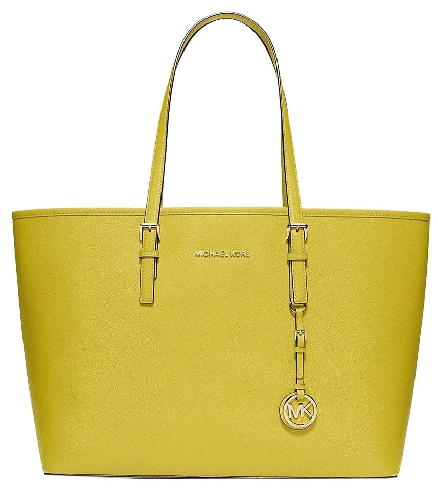 83a1fd0981 Michael Kors Jet Set Travel Medium Multu-function Shopper Apple Light Green  Saffiano Leather Tote