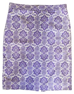 J.Crew Pencil Paisley Skirt Purple and White