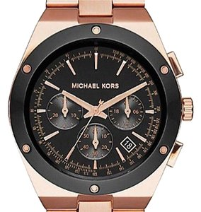 Michael Kors Michael Kors Unisex Black Dial Rose Gold tone Stainless Steel Watch