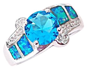 BohoSoup Blue Topaz Blue Opal Sterling Silver Filled Alternative Wedding Band Ring Size 7
