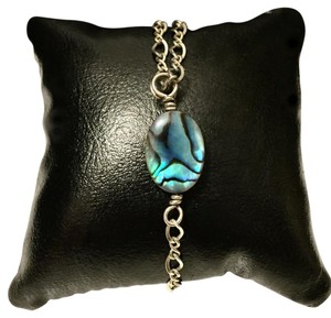 Sterling Silver Adjustable 925 Double Wrap Blue Stone