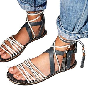 Free People Strappy Boho Festival Gray Multi Sandals