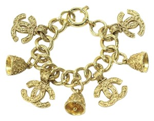 Chanel Gold Tone Charm Bracelet CC Charms Bell Charms