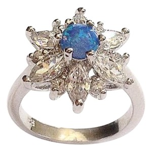 BohoSoup Blue opal and cz sterling, promise ring, alternative wedding ring. Anniversary gift, bridal jewelry. Size 6