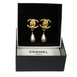 Chanel Chanel CC Gold Monogram Mother of Pearl Clip On Earrings
