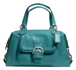 Coach Leather Aqua Blue Turquoise Rare Satchel in Mineral