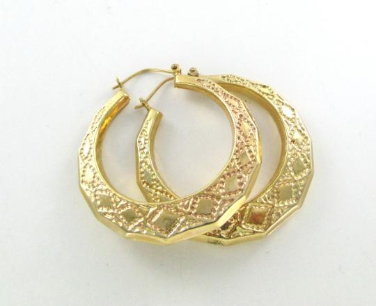 Other 14KT YELLOW GOLD EARRINGS BEADED LOOK HOOP LARGE HOLLOW FINE JEWELRY JEWEL 3D