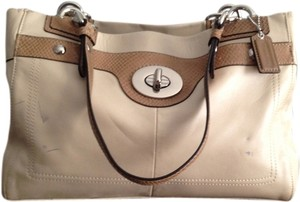 Coach Satchel in Beige on bone