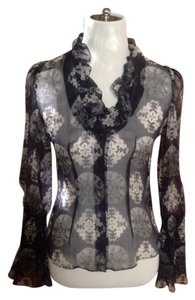 Alexander McQueen Top Black and white silk