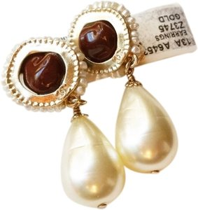 Chanel Authentic Chanel CC Burgundy Stone w/ Faux Pearl Seed Dangle Clip on Earrings Original Box