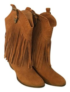 Very Volatile Western Fringe Boho Suede Tan Boots