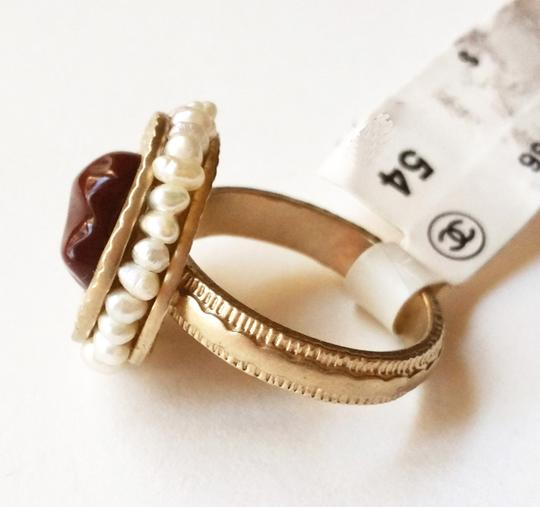 Chanel Authentic Brand New Chanel CC Burgundy Stone Faux Pearl Seed Ring
